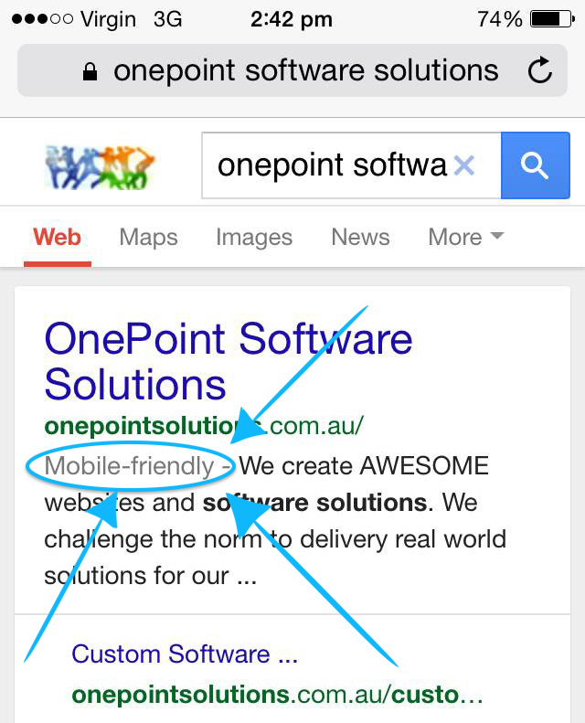 onepoint-software-solutions-brisbane-google-mobile-friendly-SERP