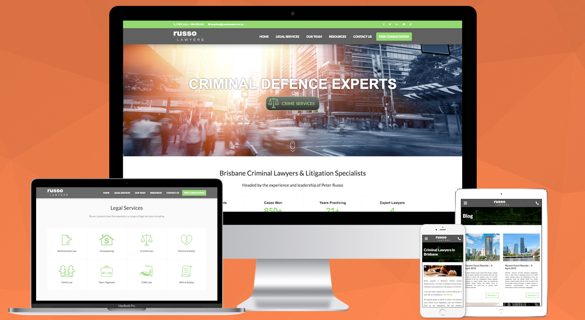 Brisbane Website Design & WordPress Development - Russo Lawyers Website by OnePoint Software Solutions QLD Australia