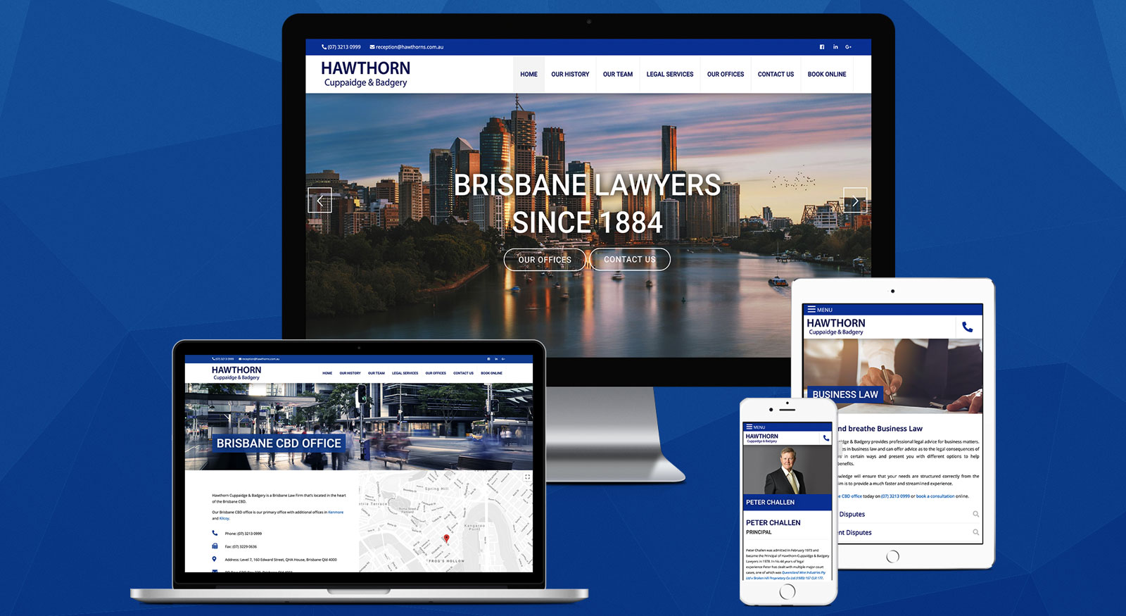 Brisbane Lawyers Website Design - OnePoint Software Solutions - Hawthorn Cuppaidge & Badgery