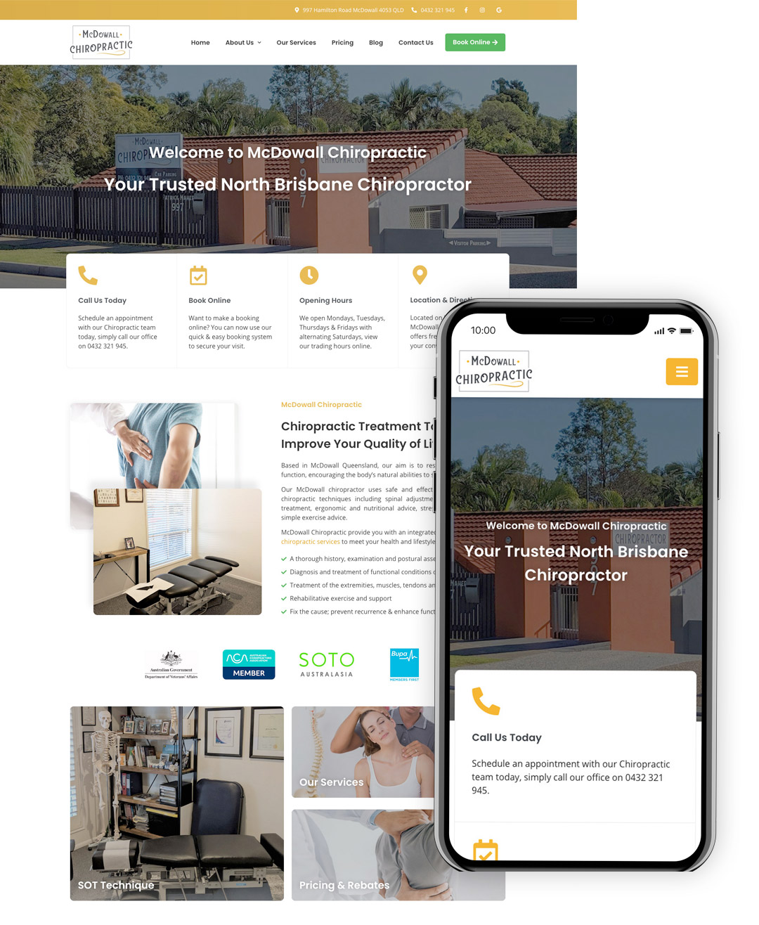 McDowall Chiropractic Showcase - OnePoint Solutions - Website Design Brisbane QLD Australia